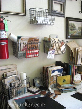"""Old Locker Baskets are a """"must-have"""" for any junker. They have so many uses around the house. I liked this idea for using them in an office. Simply hang them on the wall, for files and papers. Easy to get to, easy to see, off the desk."""