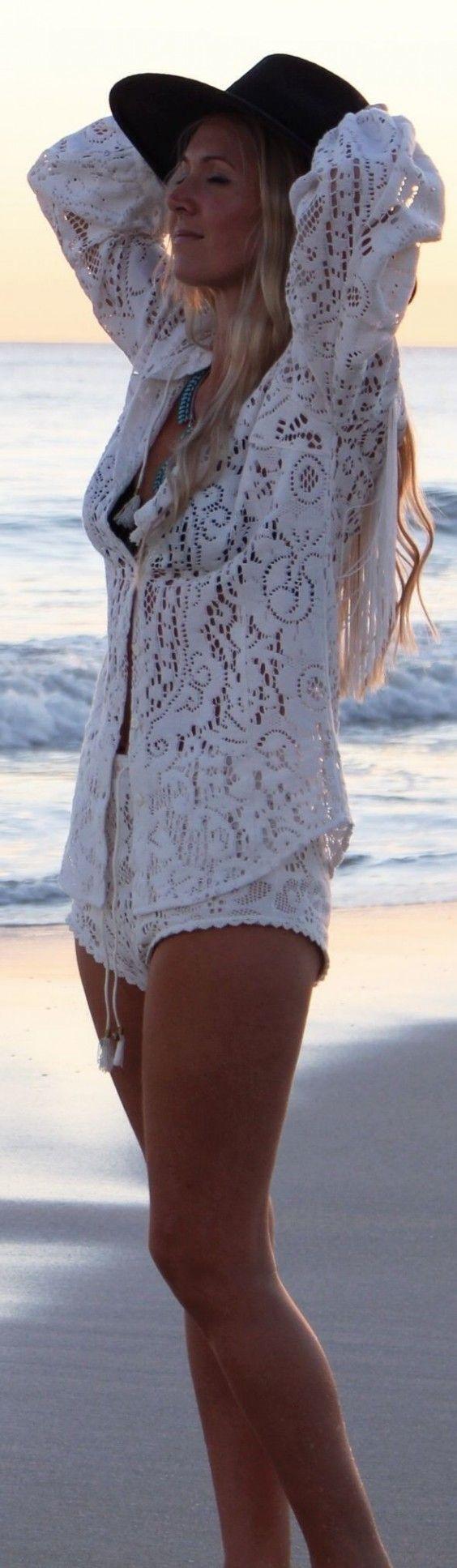 #gypsylovinlight #coachella #hippie #style #spring #summer #inspiration | White Beach Long Sleeve Crochet Semi-sheer Button Up                                                                             Source