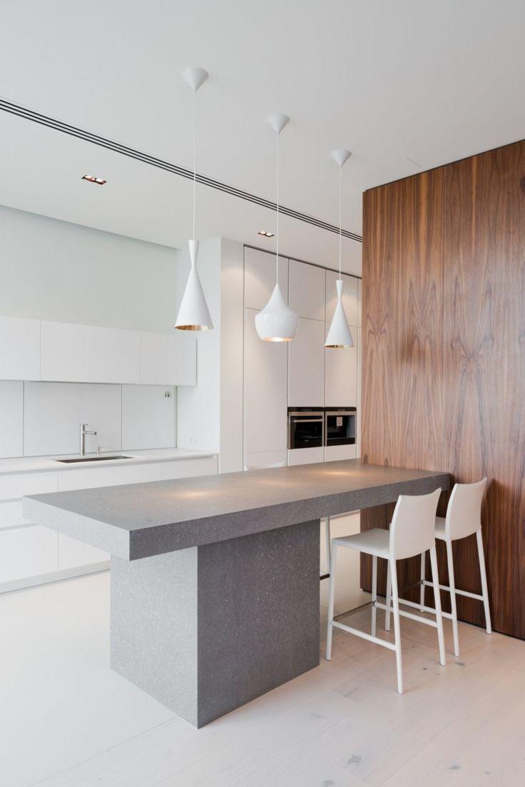 white-washed wood + walnut + grey stone + white cabinetry + 3 pendants