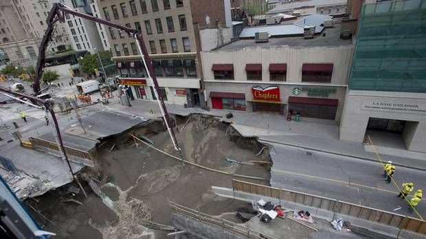 Concrete poured into Ottawa sinkhole, but street could be closed for weeks - The Globe and Mail