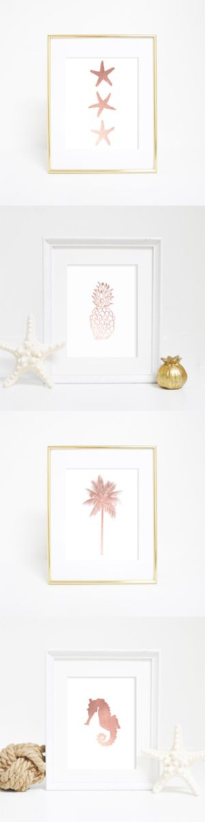 Rose gold, please! Loving these beach/coastal rose gold prints. Available as wall prints or printables!