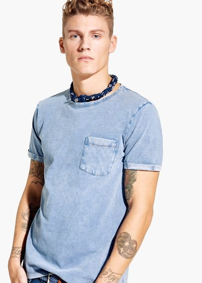 T-shirt in denim stijl | MANGO MAN