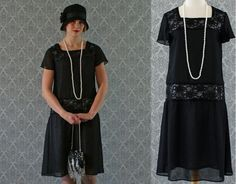 Black flapper dress with chiffon and lace short ruffled
