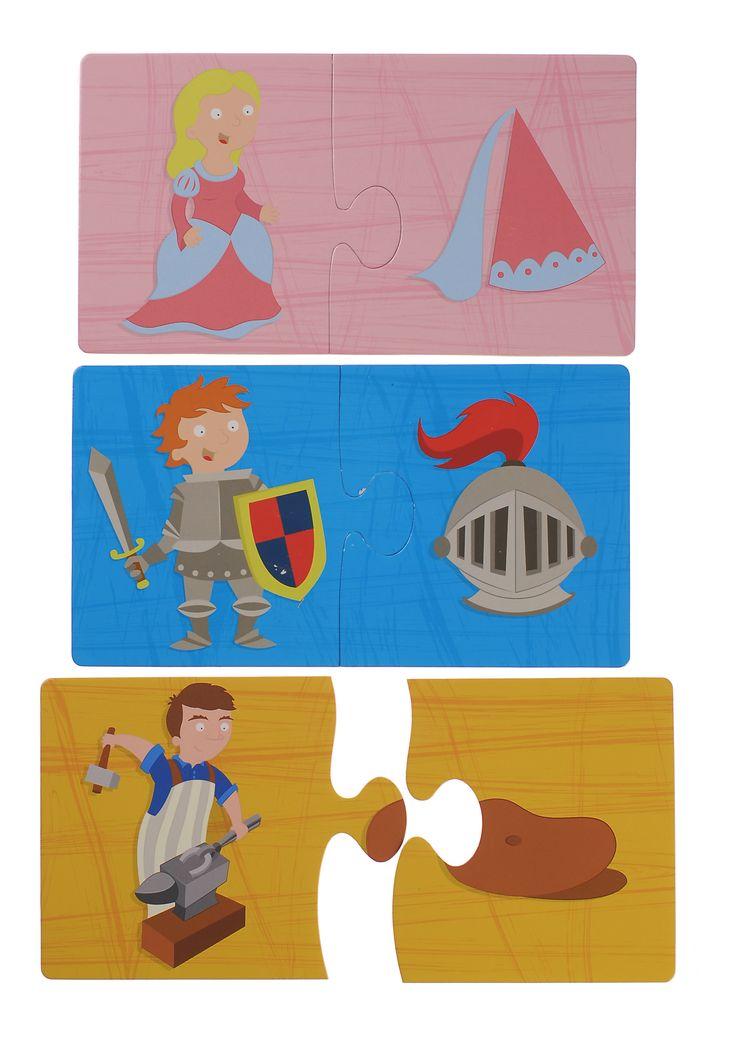 ROMPECABEZAS DE PARES CABALLEROS Es un precioso regalo y viene embalado en una caja de alta calidad. Puzle de 20 piezas gigantes que también sirven como un juego de parejas. Los puzles son de 24x13 cm e impresos en cartón de gran espesor que los hace perfectos para las pequeñas manitas. #puzesparaniños #puzzlesparaniños  http://www.babycaprichos.com/rompecabezas-de-pares-caballeros.html