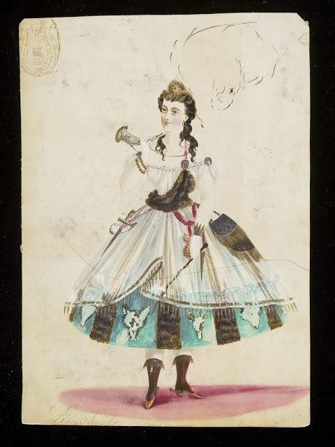 Design for a fancy-dress costume: Diana (ca. 1860) | In the Swan's Shadow
