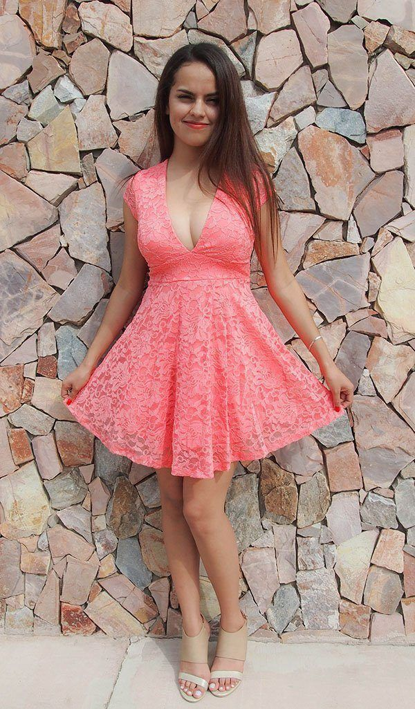 Love You Always and Forever Peach Lace Skater Dress. A gorgeous lace overlay shapes a plunging neckline. Sheerlace short sleeves and sheer lace panel in back. Lace bodice with empire waistflares to a flirty skater skirt. This lace dress is perfect to wear as an evening dress, party dress or the perfect lace dress to wear as a wedding guest. This peach lace dress is super cute and can really be worn at any time and for any occasion at Ledyz Fashions - www.ledyzfashions.com