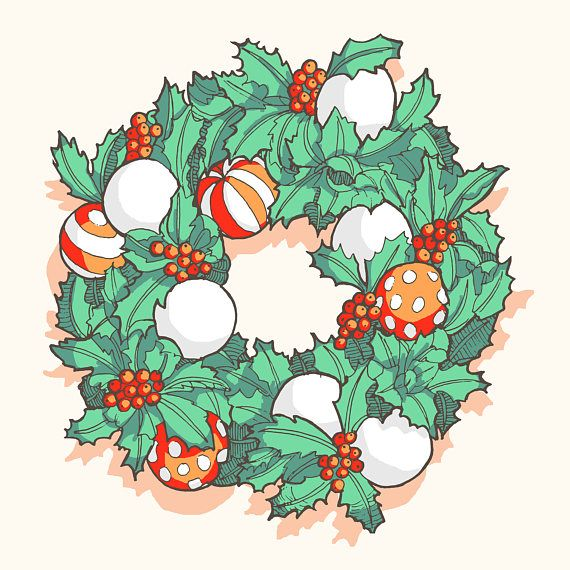 Christmas wreath art! A really cool cheap modern alternative to cluttering up your house with actual holly or stuffy decorations. Bright fresh colours of mint green and light crimson red.