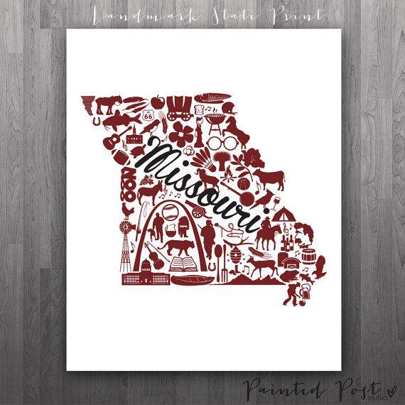 Springfield Missouri Landmark State Giclée Print by PaintedPost, $15.00 #paintedpoststudio - Missouri State University - Bears and Lady Bears. What a great gift Idea! Perfect dorm decor!