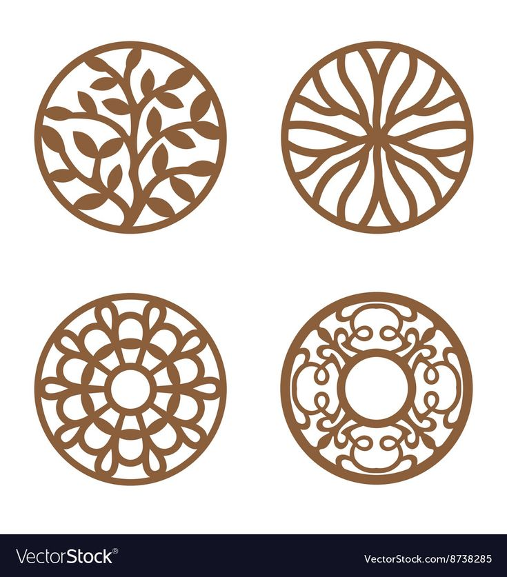 Flower Design Laser Cut Wood Coaster Royalty Free Vector
