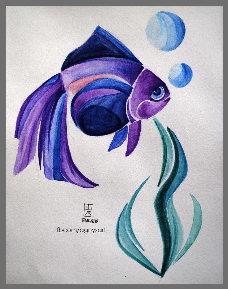 """""""Purple Fish"""" #Narure #Purple #Watercolor #Sea #Fish"""