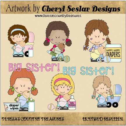 Little Lola and Pals are Big #Sisters #Clipart