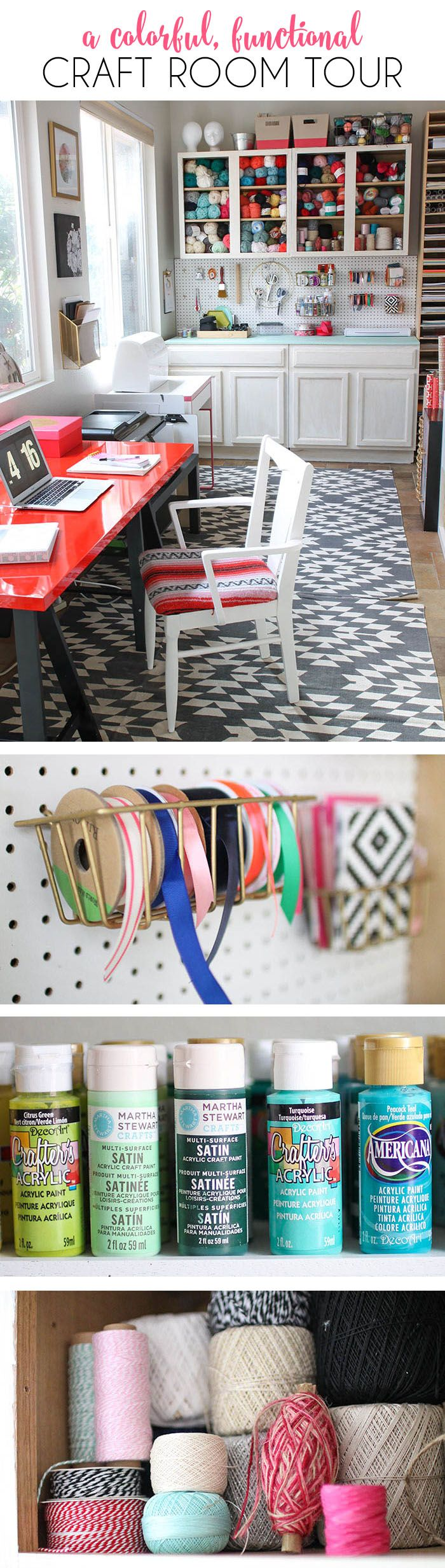 Scrapbook organization ideas - A Colorful And Functional Craft Room Lots Of Fun Storage Ideas