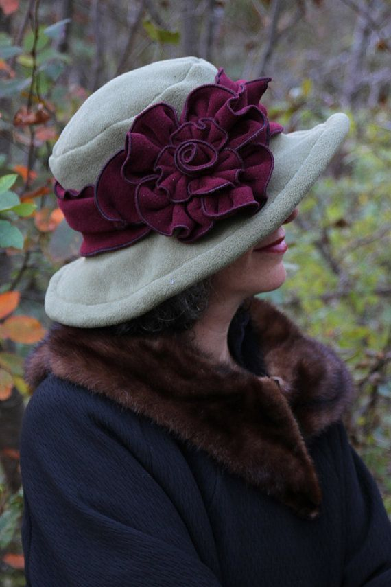 Edwardian Polar Fleece Hat -  Moss and Burgundy - Winter Hat Wide Brim…