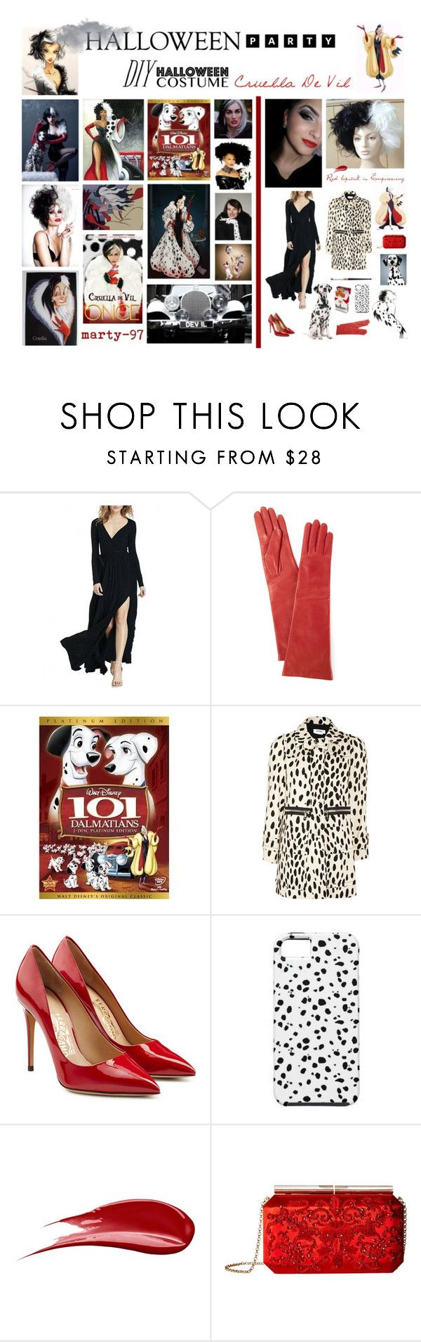 Halloween Party: Cruella De Vil by marty-97 on Polyvore featuring moda, WithChic, Sonia by Sonia Rykiel, Salvatore Ferragamo, Oscar de la Renta, Portolano, Hourglass Cosmetics, Edition, Disney and Once Upon a Time