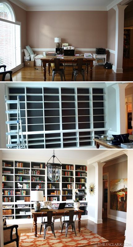 beautiful bookcases for in the formal living room opposite of the garage door wall...