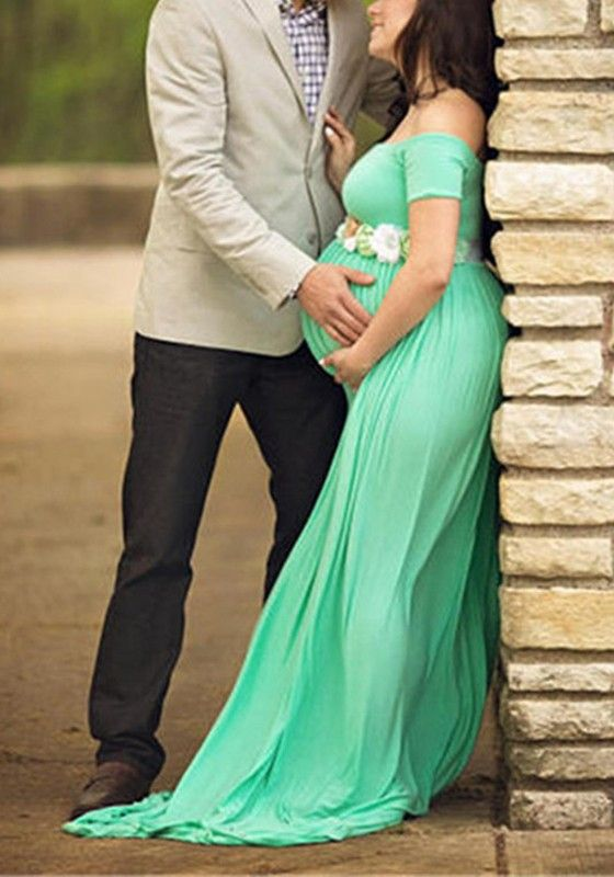 70d219204f36 Green Draped Backless Off Shoulder Maternity Photoshoot Baby Shower Maxi  Dress