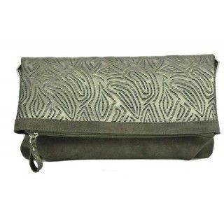 Odelia - geanta din piele naturala - gri metalizat