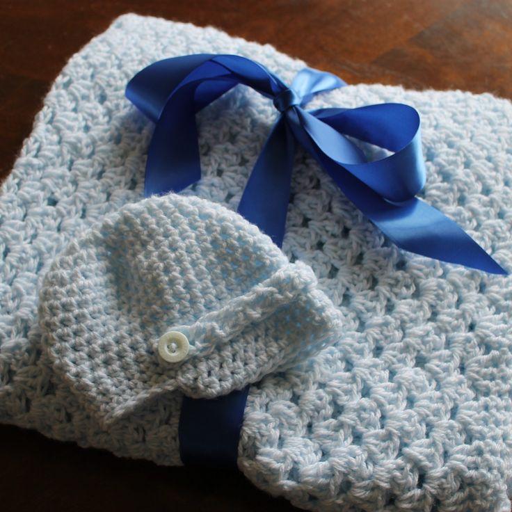 Custom crochet newsboy hat with matching blanket