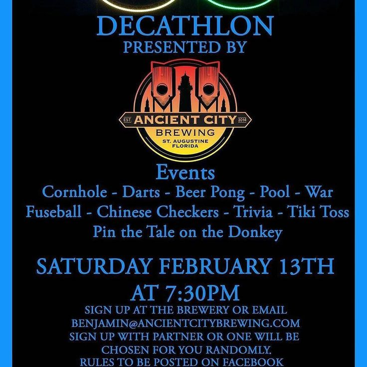 #games @ancient.city.brewing  This Saturday night Ancient City Brewing will be hosting the first FREE Decathlon!  Events include: Corn hole Darts Beer pong Pool War Foosball  Chinese Checkers Trivia Tiki Toss and Pin the Tail on the Donkey!! Pick your best team mate and sign up! Only a few spots left! Live Music by 2nd Hand during the event! It all begins at 7:30pm!  To sign up message us here on Facebook or email Benjamin@AncientCityBrewing.com  #AncientCityBrewing #StAugBeer…