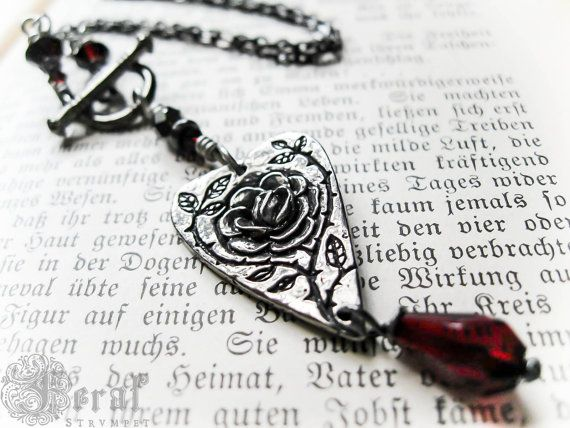 Everyday Rose Necklace. Briar Rose Pewter Heart by feralstrumpet