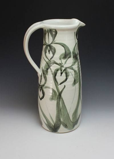 Stoneware Gallon pitcher Wheel thrown, Stylized Iris brushwork design.  Anne Webb