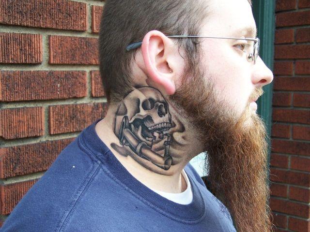 Full Neck Tattoos for Men | Ron Meyers - richie's neck tattoo full