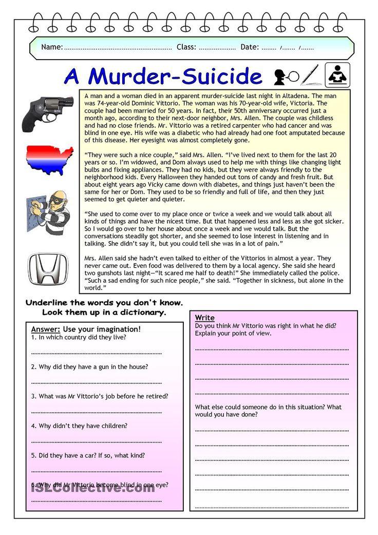 Imaginative Reading Comprehension - A Murder-Suicide