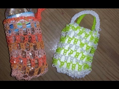 Rainbow Loom Mini TOTE BAG / CHANGE PURSE (Advanced) Can also be made on 2 forks. Designed and loomed by Cheryl Mayberry. Click photo for YouTube tutorial. 04/25/14.