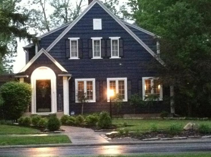 Navy Blue House Exterior White Trim Black Door And Shutters Landscape In 2018 Pinterest Colors