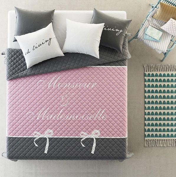 Pikowana narzuta szaro różowa na łóżko małżeńskie
