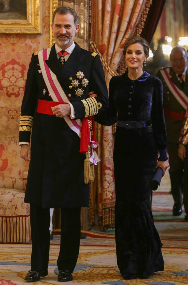 6 January 2018 - Spanish Royals attend Pascua Militar (New Year's military parade) at the royal palace in Madrid - dress by Felipe Varela