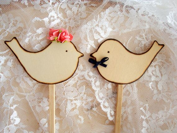 Rustic cake toppers, wooden love birds, custom, personalized wedding, shabby chic bow tie flowers