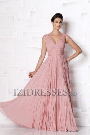 Sheath/Column Straps V-neck Chiffon Mother of the Bride Dress - IZIDRESSES.COM