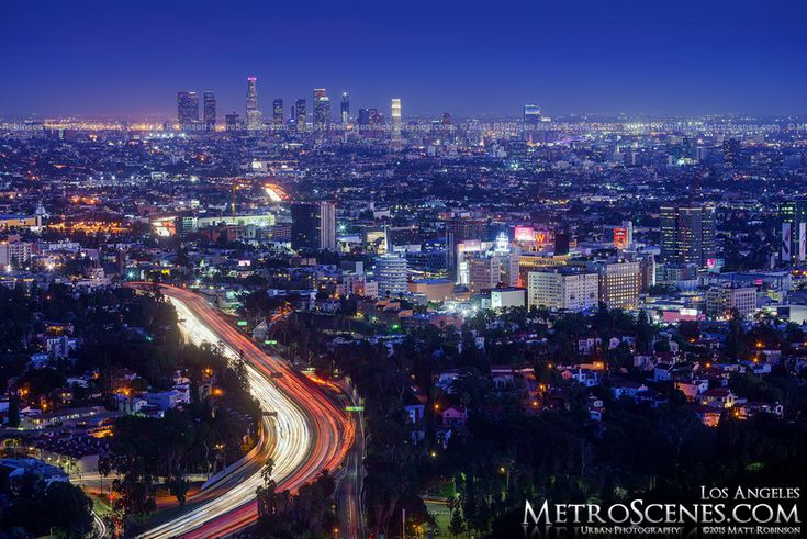 2015 Los Angeles Skyline with Hollywood from Mulholland Drive with Wilshire Grand Tower under construction