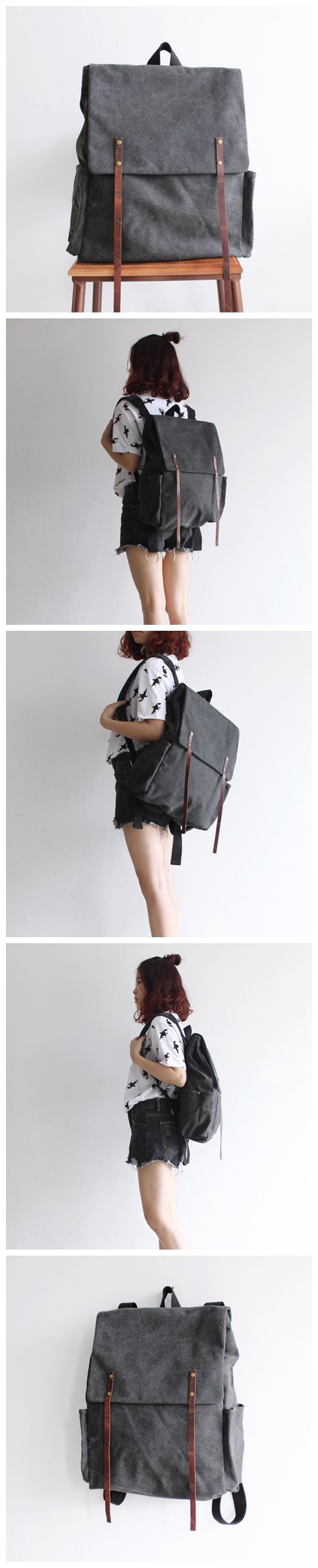 Original Handcrafted Waterproof Waxed Canvas Backpack School Bag Canvas Rucksack Travel Backpack Laptop Backpack Casual Daypacks 14049 -------------------------------- - 16oz waxed canvas - Cotton lin