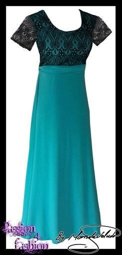 Turquoise & black lace evening dress with short sheer lace sleeves.
