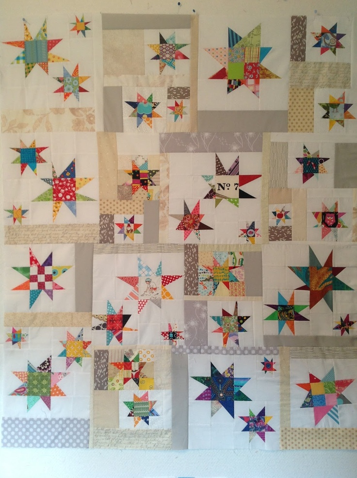 I love the way these bright little wonky stars have been pieced with neutrals.  Quilt top by Jeri of Durable Goods.