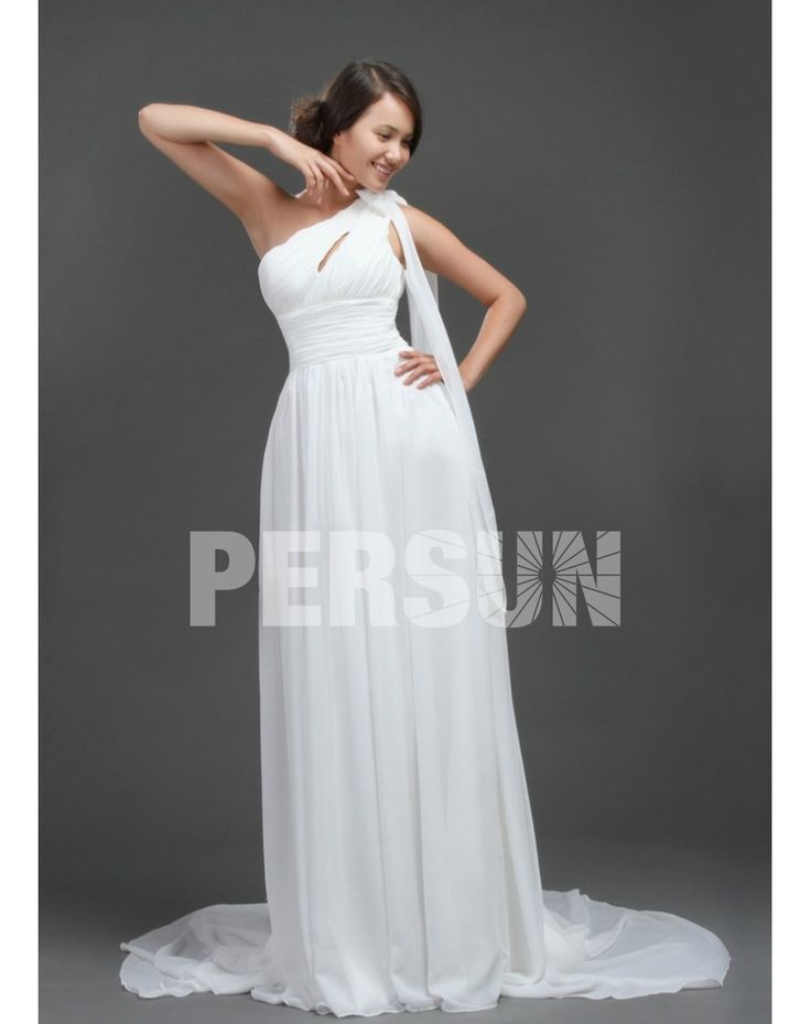CHIFFON ONE SHOULDER PLEATS EMPIRE BOWKNOT WEDDING DRESS fashion chiffon wedding dresses  chiffon wedding dresses chiffon wedding dresses