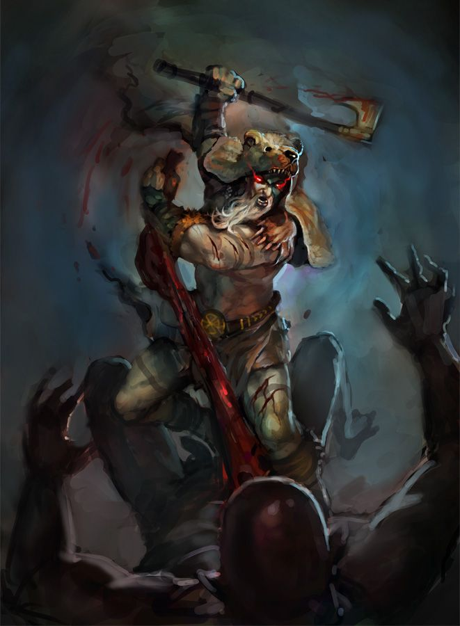A very brutal representation of a Viking Berserker.  Berserkers were the most feared of the Vikings, as they would scream or bite their shields in battle, and generally just scare the heck out of their enemies.