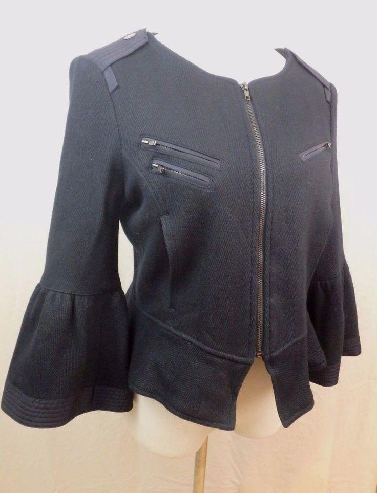 William Rast Navy Blue Wool Blend Military Style Jacket Coat SIZE SMALL M #WillamRast #BasicJacket