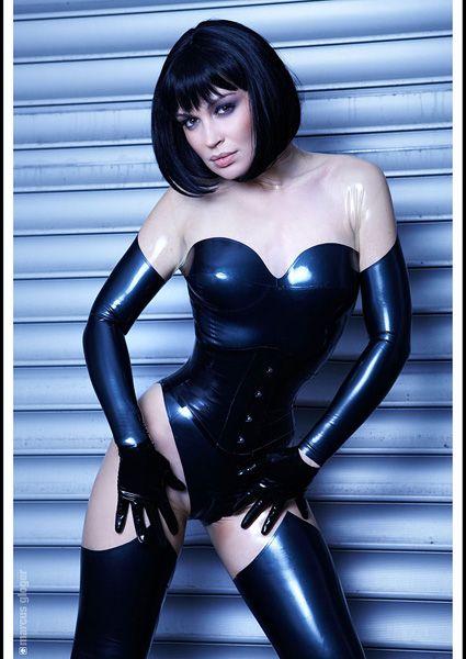 Black & Transparent latex catsuit