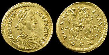 Roman Empire. Valentinian II, 375-392 AD. Gold solidus, Trier mint.