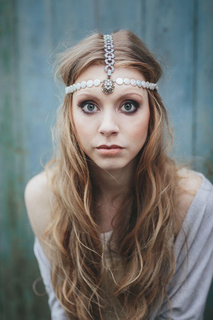 Boho Bridal Inspiration... Elegant Head Crown and Hair Jewellery.  http://www.bluefizztentsandevents.co.uk/ethereal-wedding-inspiration-coastal-clovelly/