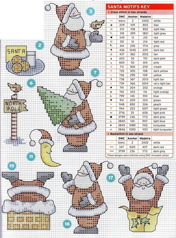 MÁS PUNTO DE CRUZ: Papá Noel; Santa motifs with DMC color key; can be done on cross stitch; many other patterns on this blog!