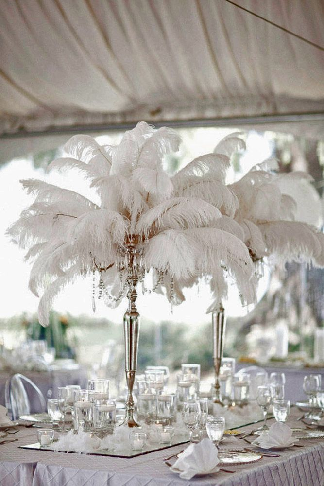 Best ideas about feather wedding centerpieces on