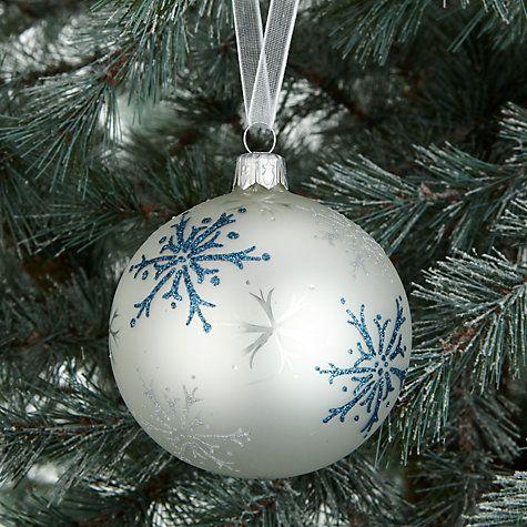 Buy John Lewis Snowdrift Glass Pearl Snowflake Bauble, Multi Online at johnlewis.com