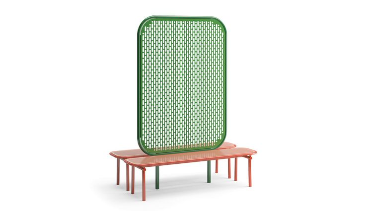 Kristine Five Melvær's Pop collection, for the Swedish outdoor furniture brand Vestre, includes benches, screens and planters.