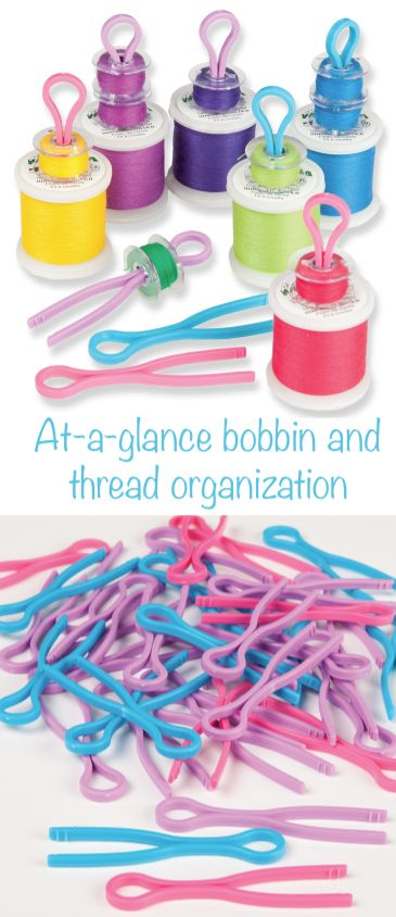 Bobbin Clips - Connect bobbin and thread for at-a-glance organizing - sewing organization - Nancy's Notions - Sewing - Quilting - bobbin clip