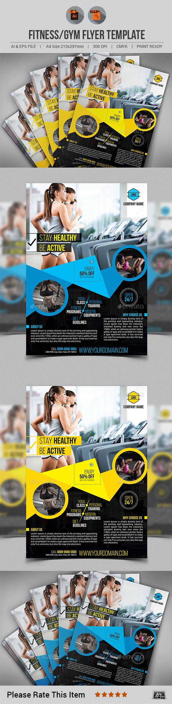 Fitness/Gym Flyer Vector Template EPs, AI #design Download: http://graphicriver.net/item/fitnessgym-flyer-template-v10/13648175?ref=ksioks