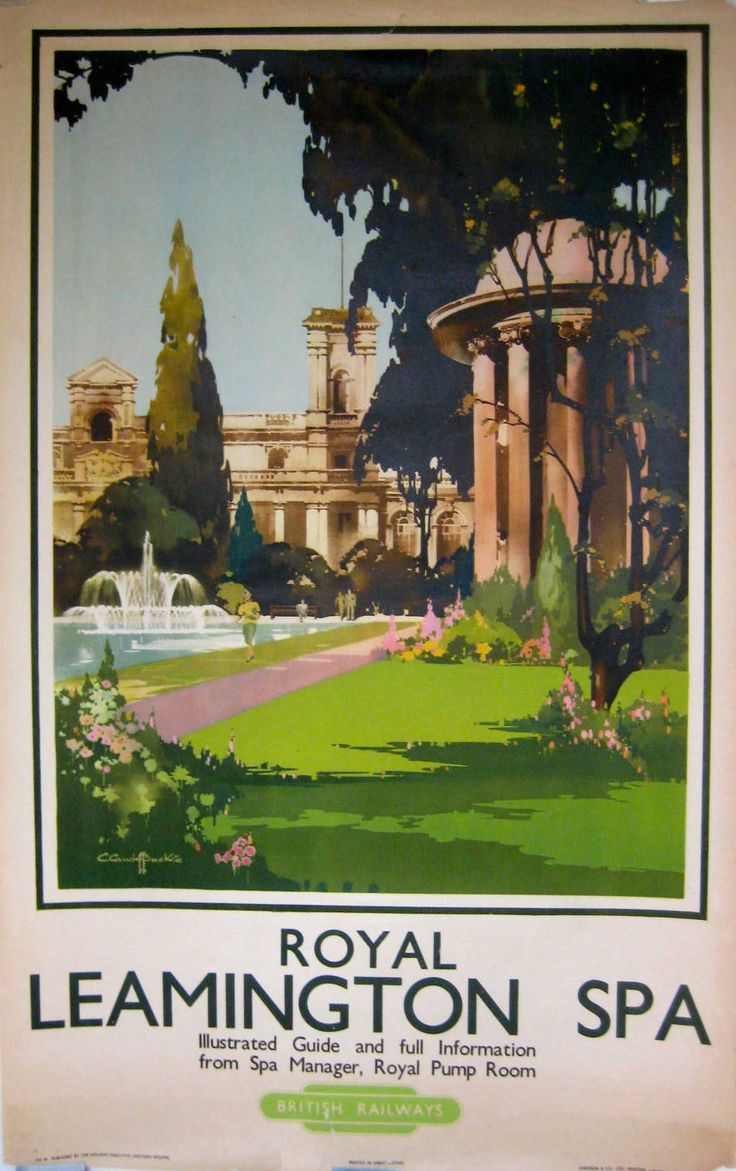 Vintage Travel Poster by Claude Buckle / Royal Leamington Spa / 1950s